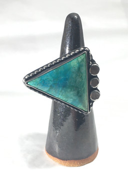 Malachite Azurite Turquoise + Sterling Silver Ring
