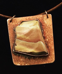 """""""Copper State"""" - natural picture stone in shape of Arizona state on copper"""