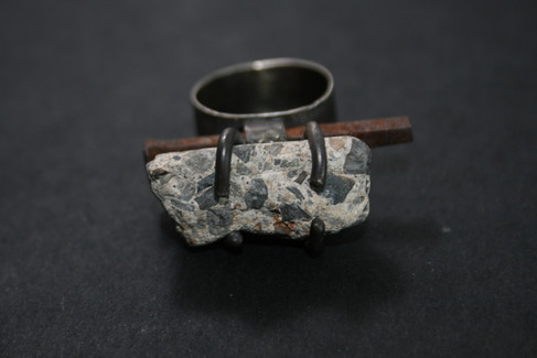 Conglomerate concrete with vintage square nail set in sterling silver
