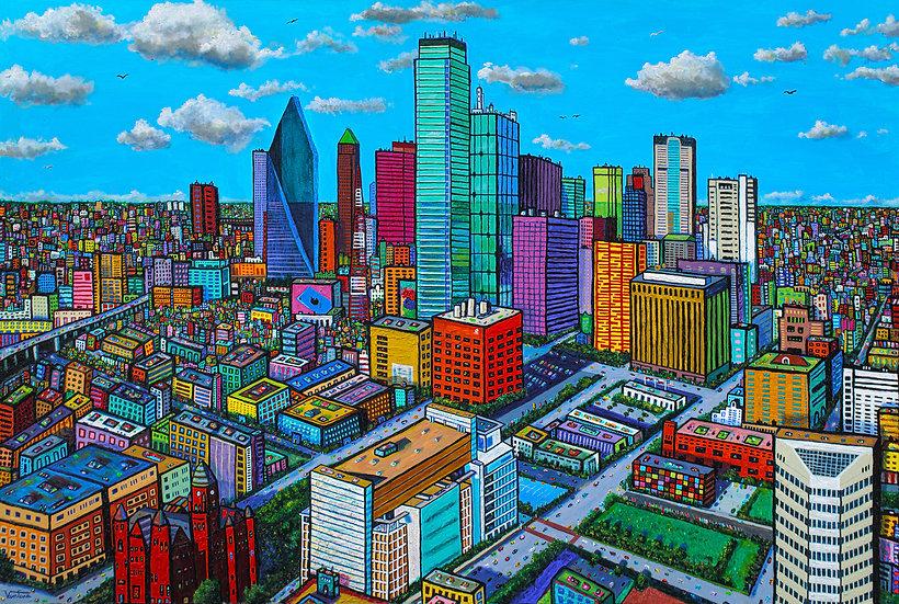 "DALLAS SPRING • Original Painting (Acrylic on Canvas 48"" x 72"")"