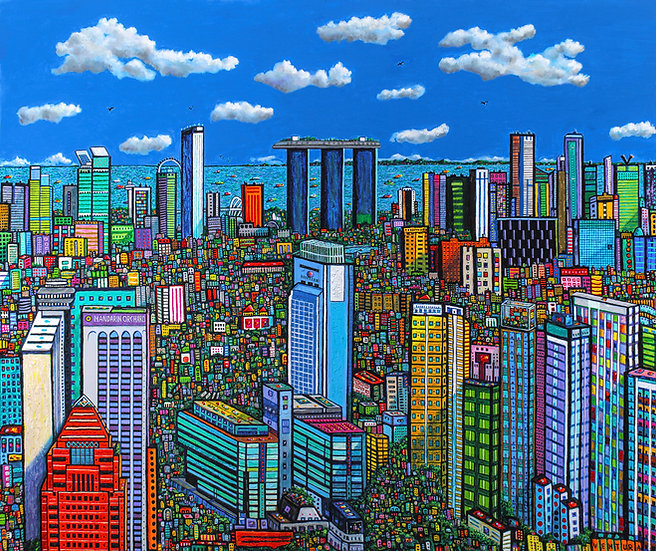 "SINGAPORE BLUE • Original Painting (Acrylic on Canvas 60"" x 72"")"