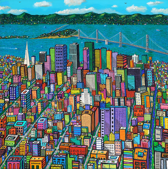 """BAY BRIDGE #2 • Limited-Edition Giclee (40"""" x 40"""") Signed and Numbered"""