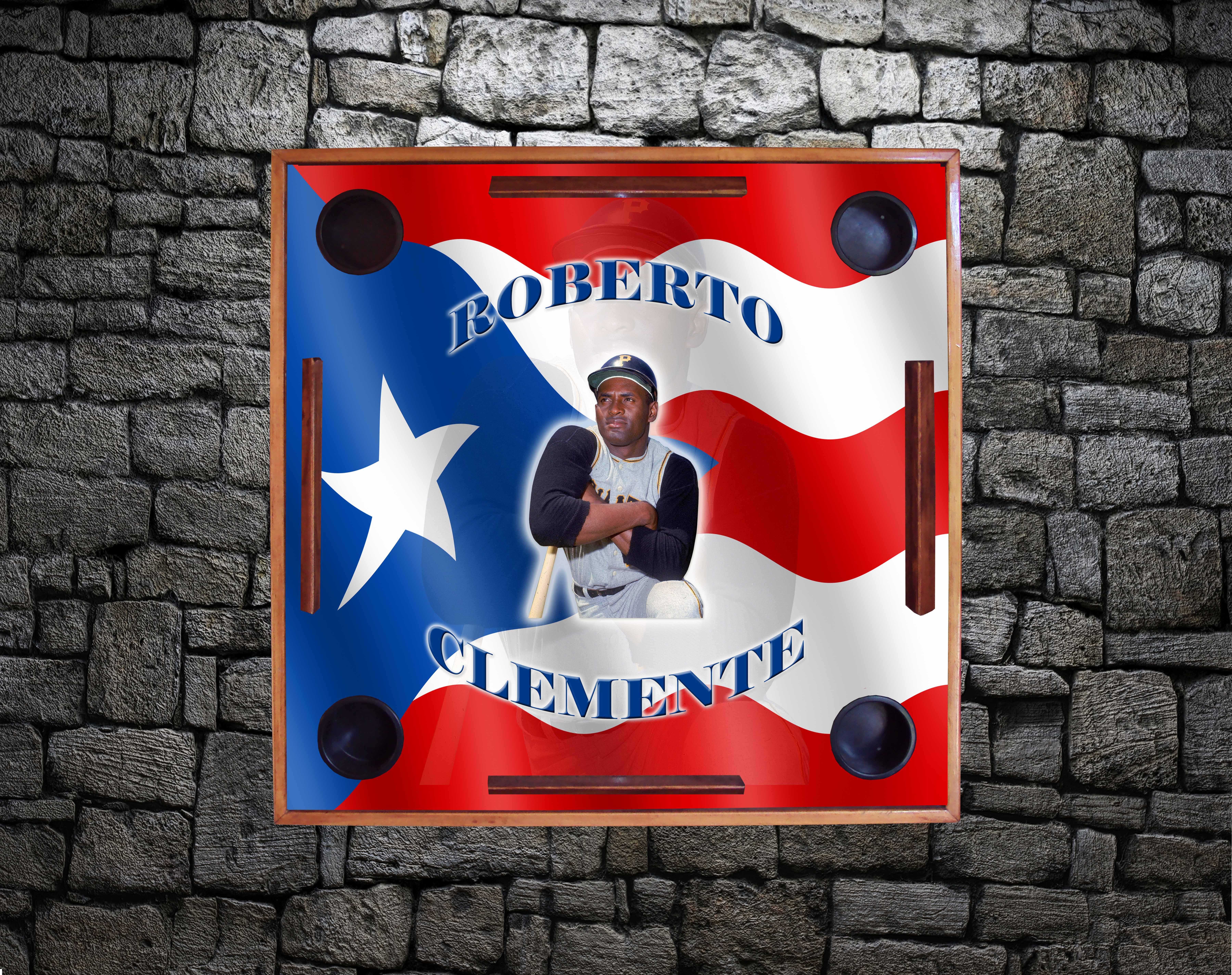 Roberto Clemente w/ PR Flag