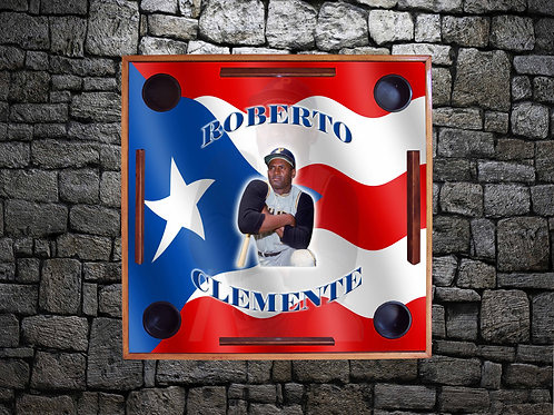 Puerto Rican Flag with Roberto Clemente