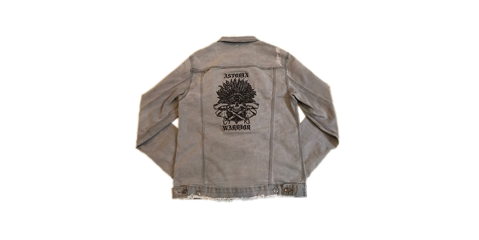 ASTORIA WARRIOR - LIGHT GREY DISTRESSED JEAN JACKET W/ BLACK (SKULL) INDIAN HEAD