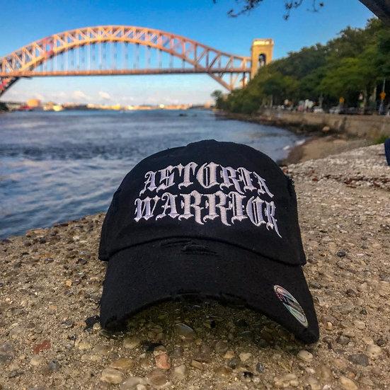 ASTORIA WARRIOR – BLACK W/ WHITE LOGO DISTRESSED DAD HAT