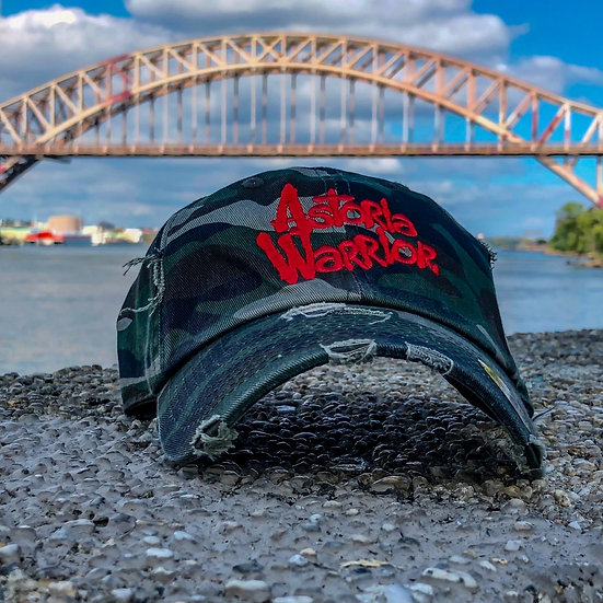 ASTORIA WARRIOR – CAMO W/ RED LOGO DISTRESSED DAD HAT