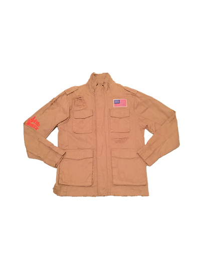 ASTORIA WARRIOR - KHAKI DISTRESSED MILTARY STYLE JACKET