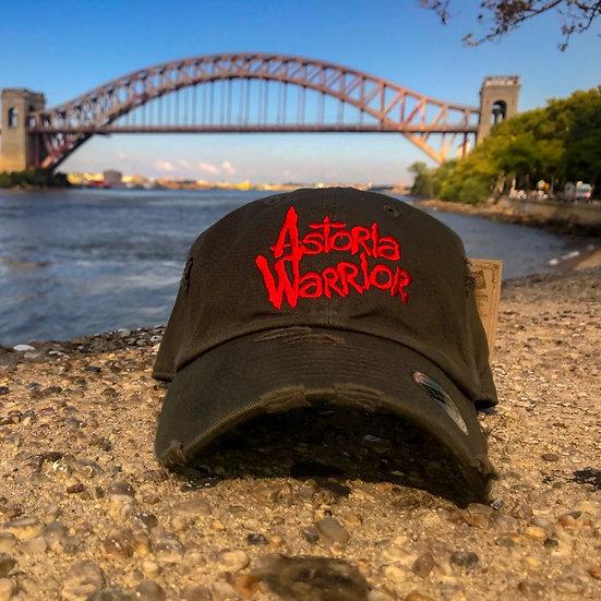 ASTORIA WARRIOR – OLIVE W/ RED LOGO DISTRESSED DAD HAT