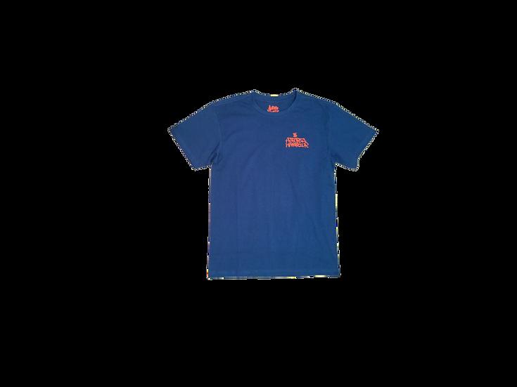 ASTORIA WARRIOR - ROYAL BLUE TEE SHIRT WITH ORANGE GRAFF GARPHICS