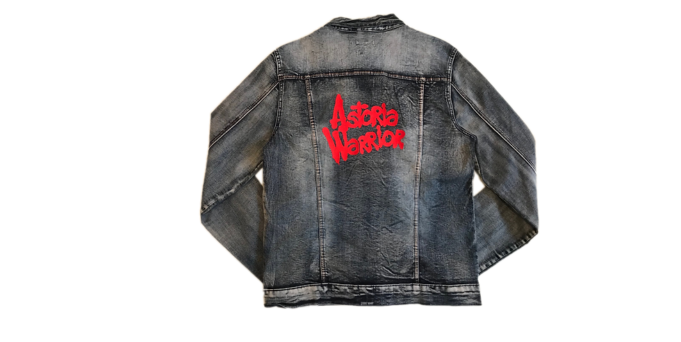 ASTORIA WARRIOR - DISTRESSED BLUE JEAN JACKET W/ RED A/W LOGO