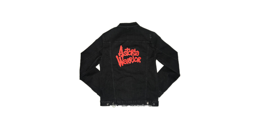 ASTORIA WARRIOR - BLACK (DISTRESSED) JEAN JACKET W/ RED A/W LOGO