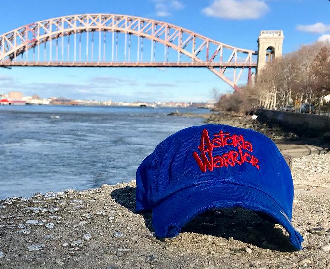 ASTORIA WARRIOR - ROYAL BLUE DISTRESSED DAD CAP W/ RED A/W STITCH