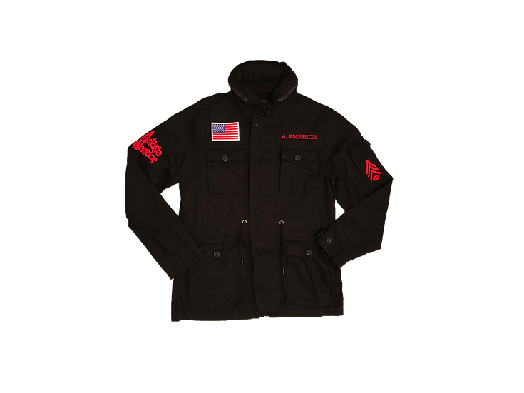 ASTORIA WARRIOR - BLACK 3/4 MILITARY JACKET W/ RED FELT GRAPHICS