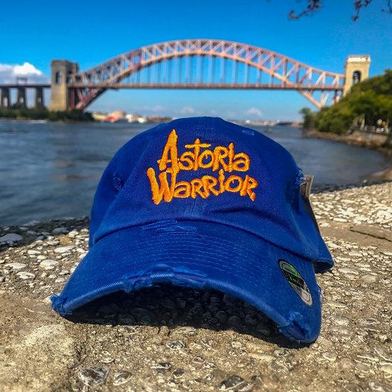 ASTORIA WARRIOR – BLUE W/ ORANGE LOGO DISTRESSED DAD HAT