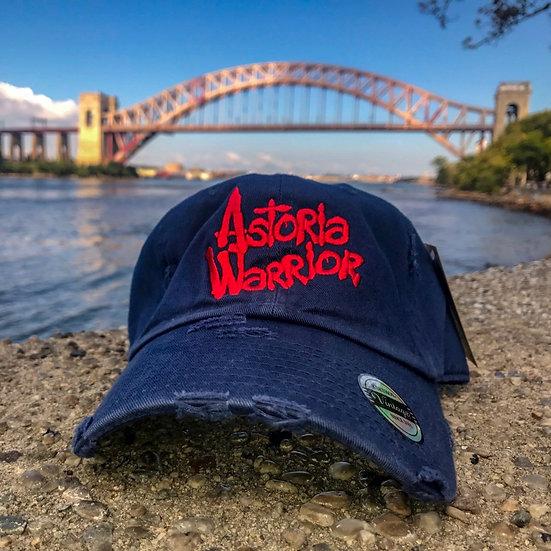 ASTORIA WARRIOR – NAVY W/ RED LOGO DISTRESSED DAD HAT