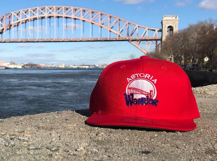 ASTORIA WARRIOR - RED SNAPBACK CAP W/ BLUE & WHITE STITCHING