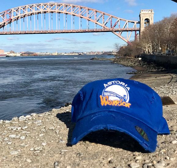 ASTORIA WARRIOR - ROYAL BLUE DISTRESSED DAD CAP W/ WHITE & ORANGE STITCH