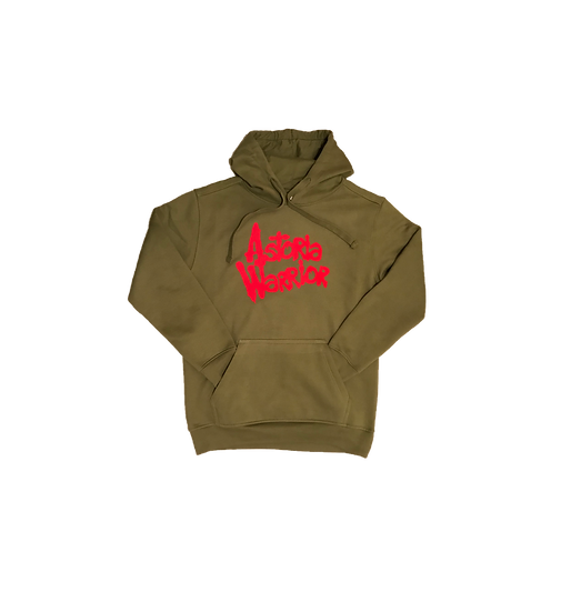 ASTORIA WARRIOR - OLIVE GREEN PULLOVER HOODY W/ RED A\W GRAPHICS
