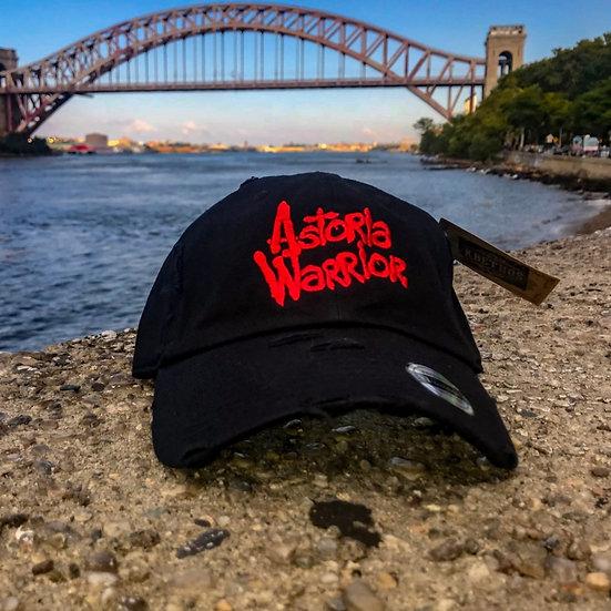 ASTORIA WARRIOR – BLACK W/ RED LOGO DISTRESSED DAD HAT