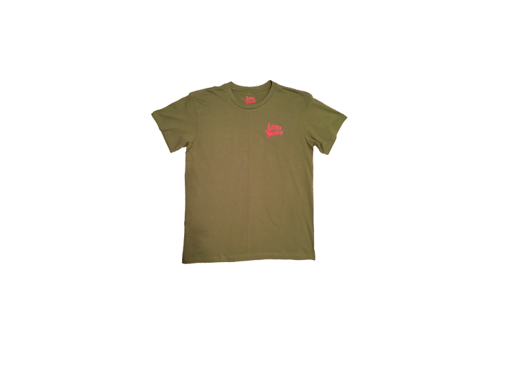 ASTORIA WARRIOR - OLIVE GREEN AQ ALL DAY EVERY DAY TEE WITH RED SPRAY GRAPHICS
