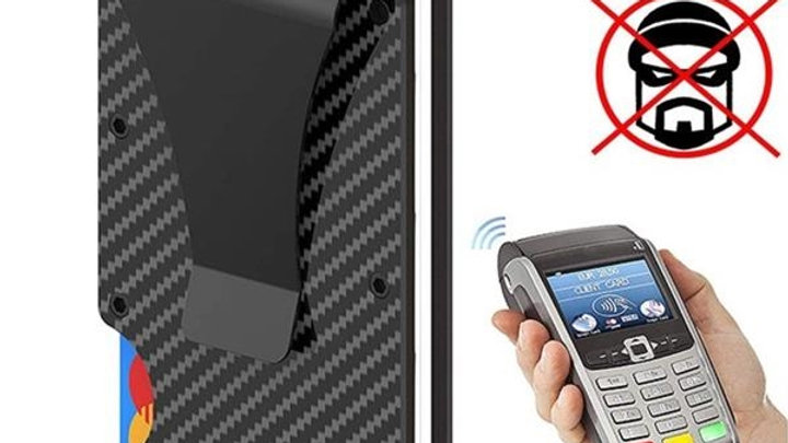 Minimalist Carbon Fiber Wallet Money Clip RFID Blocking