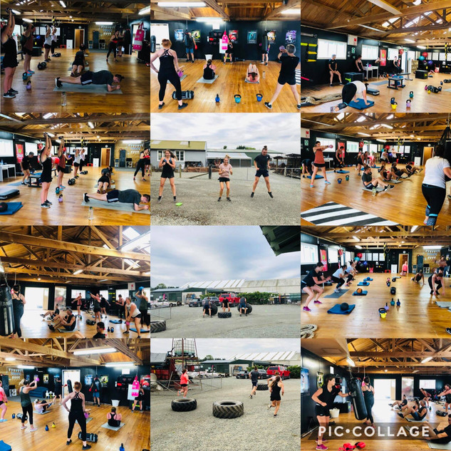 Group Fitness Class Collage