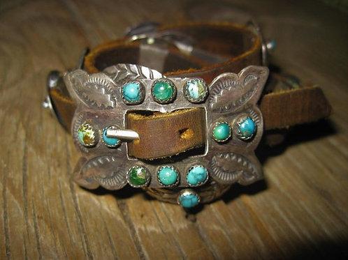 Old Stone Concho Leather Bracelet