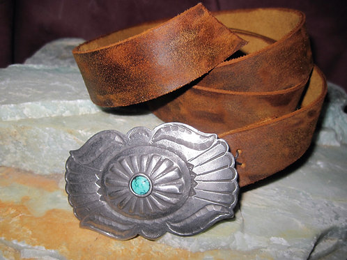 Repousse Buckle with Turquoise