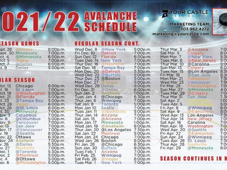 Avalanche Hockey Schedule 2021/22