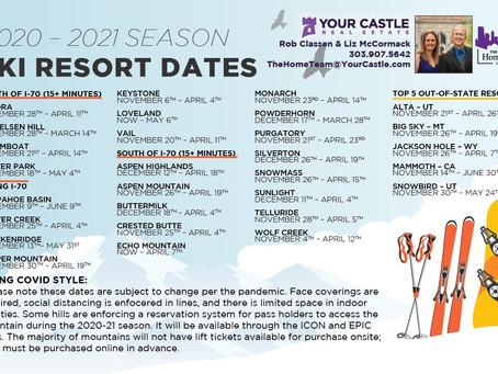 Ski Resort Dates 2020-21