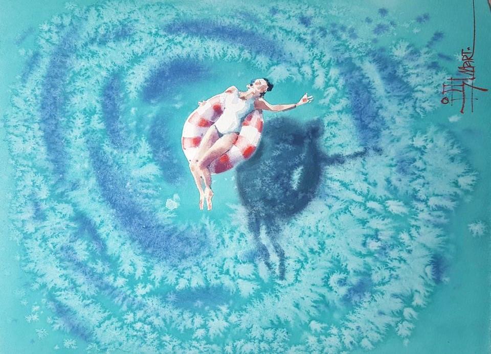 акварель, выставка, продажа, ярмарка, Дайковская, арткультиватор, artcultivator, девушка, море, голубой, ультрамарин