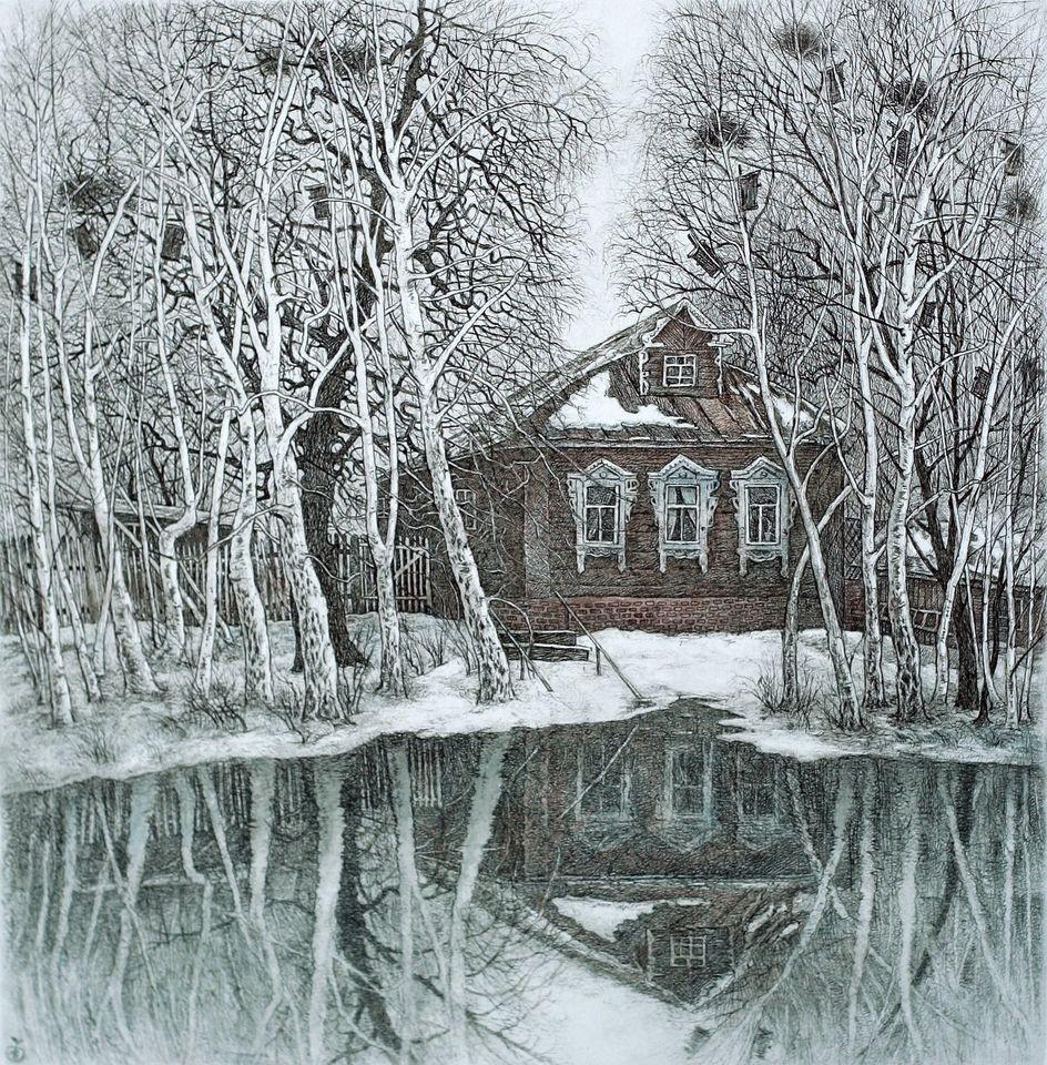 деревная, старый дом, офорт, рисунок, Ветров, арткультиватор, artcultivator