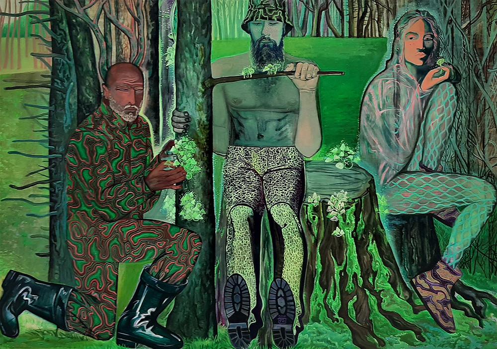 грибники, картина, зеленая, грибы, даша пустовойт, психоделия