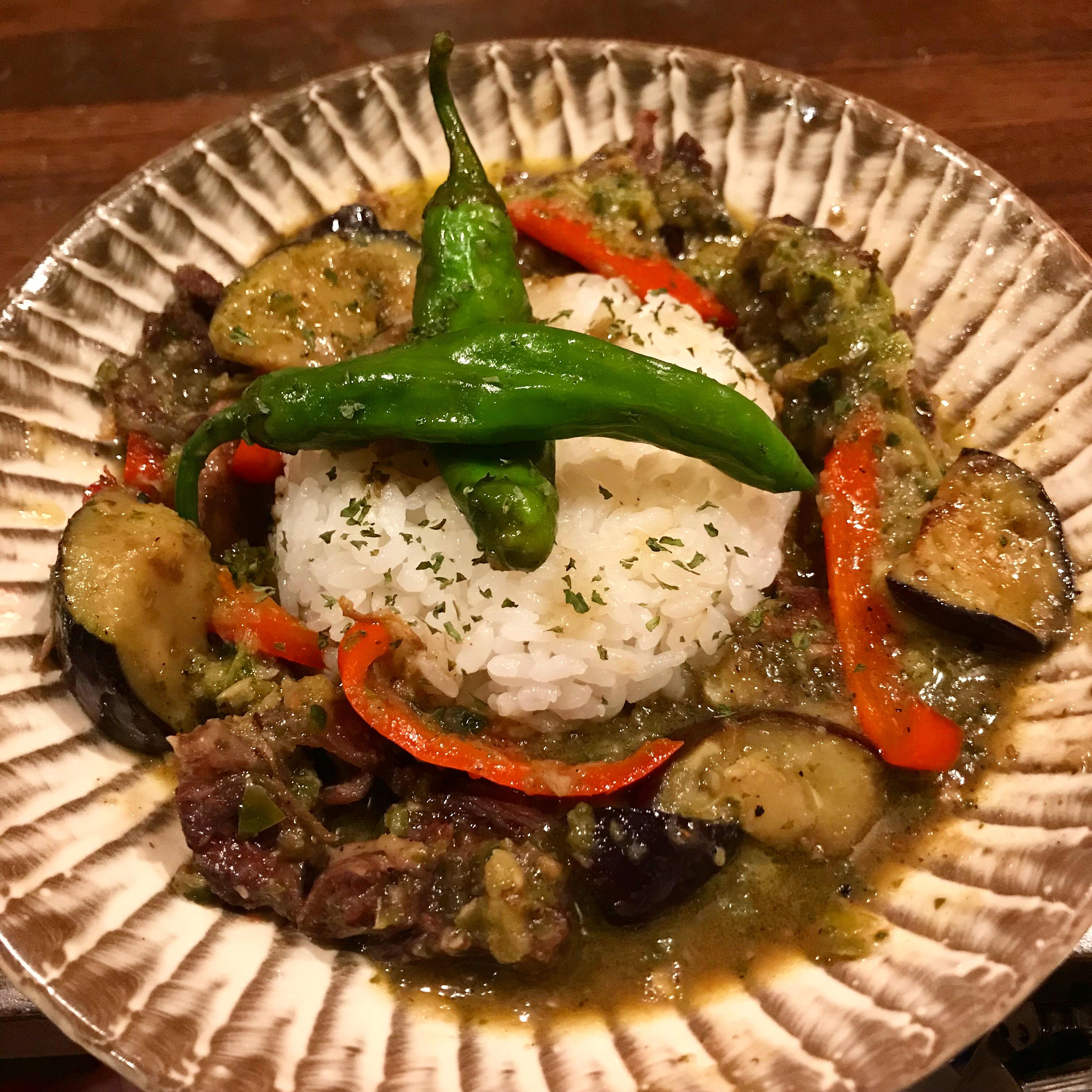 鹿バラ肉と夏野菜のタイカレー