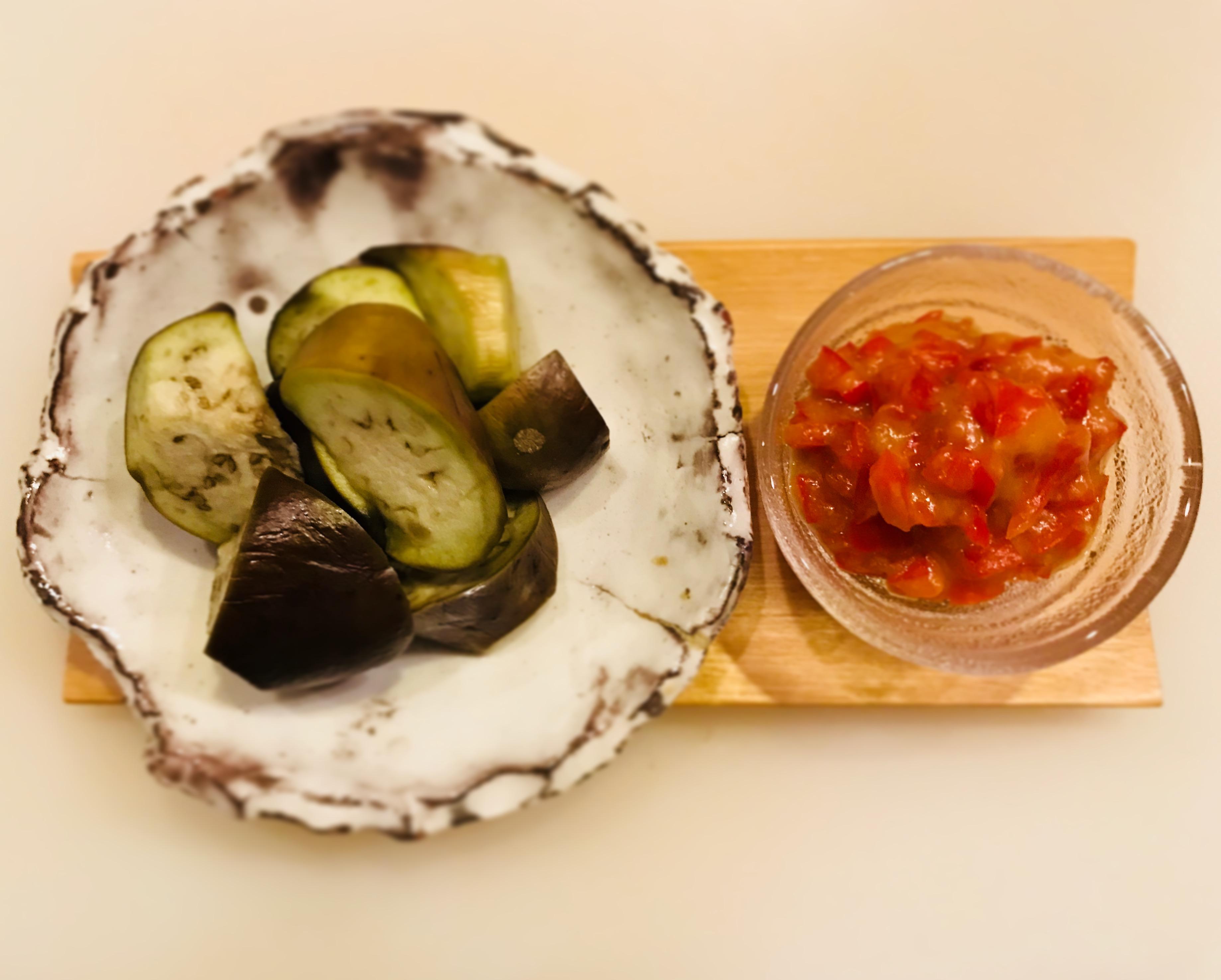 パプリカ味噌で茄子の煮浸し