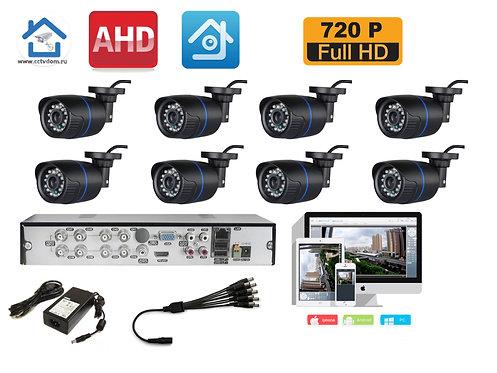 KIT8AHD100B720P. Комплект на 8 уличных камер с разрешением HD720P 1mP.