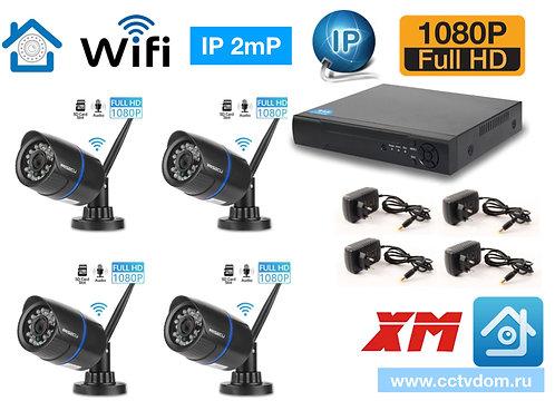 KIT4IPWF100B1080P. Комплект IP Wi-Fi видеонаблюдения на 4 уличные камеры 2мП