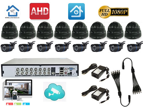 KIT16AHD100B300B1080P. Комплект на 8 внутренних и 8 уличных камер 2мП