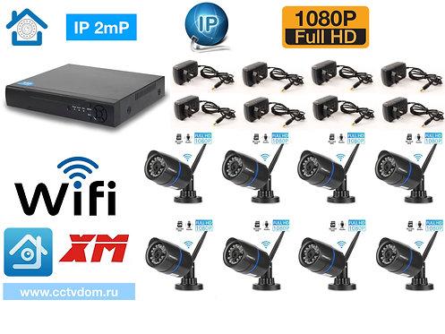 KIT8IPWF100B1080P. Комплект IP Wi-Fi видеонаблюдения на 8 камер 2мП