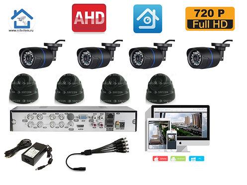 KIT8AHD100B300B720P. Комплект на 4 внутренних и 4 уличных камеры HD720P 1mP