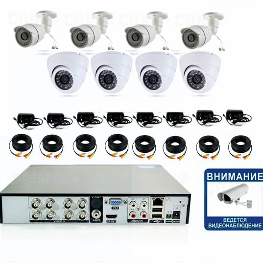 15240р. Full HD1080P. Комплект видеонаблюдения на 4 внутренние и 4 уличные Full HD камеры.