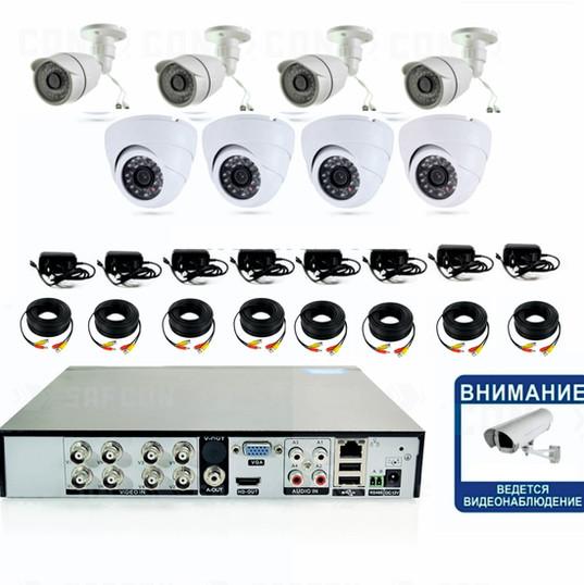 13100р. HD720P. Комплект видеонаблюдения на 4 внутренние и 4 уличные HD720P камеры.
