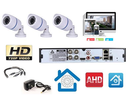 KIT3AHD100W720P. Комплект видеонаблюдения на 3 уличные HD720P камеры.
