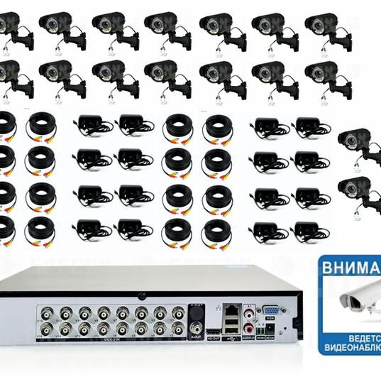 40860р. HD720P. Вариофокал. Комплект видеонаблюдения на 16 уличных HD720P камер.