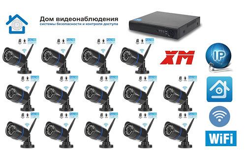 KIT14IPWF100B1080P. Комплект IP Wi-Fi видеонаблюдения на 14 уличных  камер 2 мП
