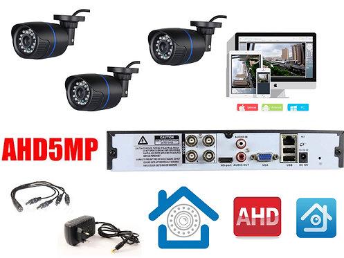 KIT3AHD100B5MP. Комплект видеонаблюдения на 3 уличные камеры 5 мП.
