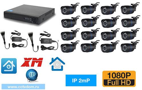 KIT16IP100B1080P. Комплект IP видеонаблюдения на 16 уличных камер 2мП 1080P.