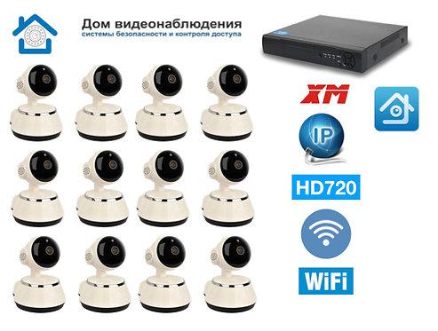 KIT12IPWF380HD720P. Комплект IP Wi-Fi видеонаблюдения на 12 внутренних PTZ HD720