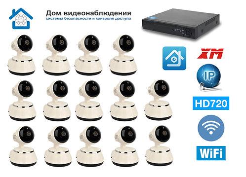 KIT14IPWF380HD720P. Комплект IP Wi-Fi видеонаблюдения на 14 IP Wi-Fi PTZ камер